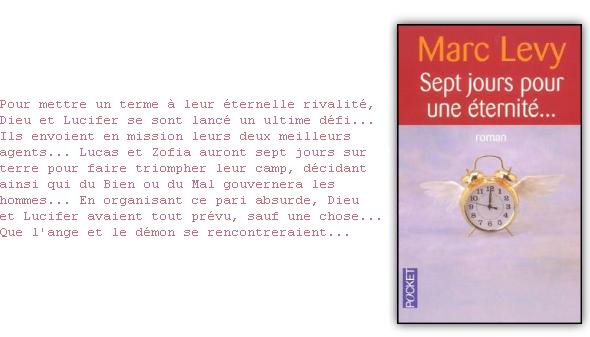 ~ Sept JOURS POUR UNE ETERNITE... Nous passons notre temps à précher l'amour, mais nous les anges, nous ne disposons que de théories. .  Marc LEVY