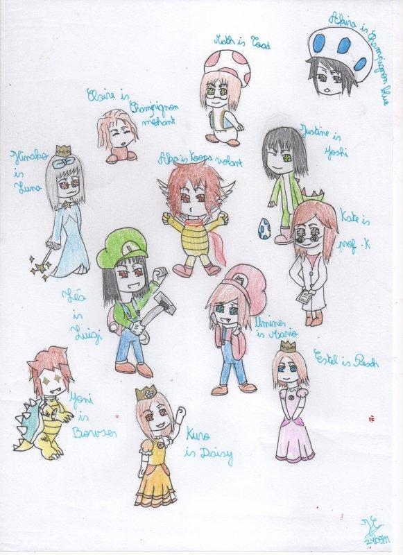 toutes les filles de la commu façon mario!!(dessin by justine^^)
