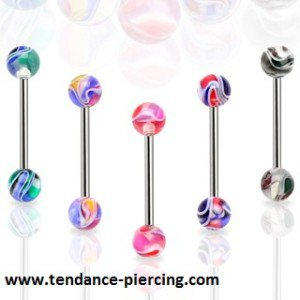 piercing langue multi color