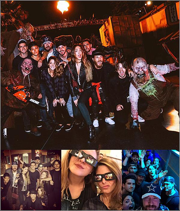 .  04.10.2015 |  Ashley et ses amies se sont rendus aux Studios Universal pour une soirée d'horreur.  + Les maquillages d'horreurs sont vraiment bien fais. Je suis heureuse que ses amies aient posté des photos. La soirée avait l'air cool.  .