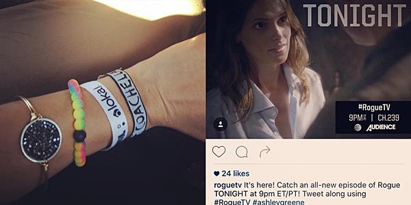 .  18 & 19.04.2016 |  Ashley a partagé deux photos avec nous sur son compte Instagram.  La belle a partagé avec nous une superbe photo datant du festival de Coachella. Elle nous montre donc le fameux bracelet Livelokaï qu'elle nous présente depuis quelques années maintenant. La seconde photo est une photo promotionnelle de 'Rogue' avec Ashley dessus !   .
