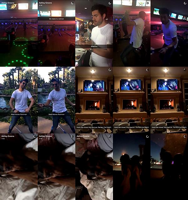 .  23.04.2016 |  Ashley et ses amies se sont fait une soirée Bowling sûrement à Los Angeles.  Ashley ne pointe plus le bout de son nez devant les pap'z mais elle ne nous oublie pas puisqu'elle publie encore beaucoup sur ses réseaux sociaux ! Ainsi, elle nous a posté beaucoup de vidéos le soir du 23 avec ses amies. On a malheureusement pas l'occasion de la voir sur les vidéos mais en tout cas, elle a l'air de s'être bien amusé :)   .