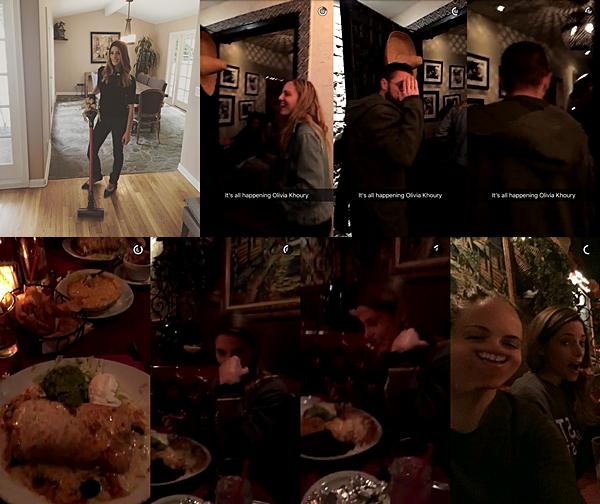 .  06.05.2016 |  Ashley était de sortie avec ses amies à un restaurant à Los Angeles.  Miss Greene nous a posté une première photo sur Instagram où elle présente le cadeau de fête des mères de sa maman et c'est un aspirateur de la marque Dyson ! C'est un aspirateur étrange puisqu'on dirait plus un balais car il n'y a que le manche.. Vous connaissiez ce genre d'aspirateur ou c'est juste moi qui ai rien compris ? XD Ensuite, la belle a posté pleins de vidéos et une photo sur Snapchat lorsqu'elle s'est rendue avec son chéri, sa belle-soeur et le chéri de cette dernière au restaurant. D'entrée, on voit qu'ils s'amusent vraiment bien. De plus, la belle - non végétarienne - a une très belle assiette qui donne l'eau à la bouche ! Sur les trois dernières captures, vous pouvez voir Ashley puisque c'est Olivia qui a piqué son téléphone pour prendre des vidéos et photos ;)   .