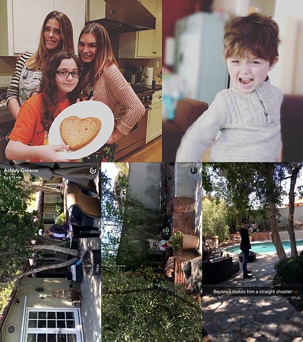 .  21.05.2016 |  Ashley et sa famille prennent du bon temps dans sa maison à Los Angeles.  Découvrez deux nouvelles photos postés sur Instagram par Ashley. La première (à gauche) est un cliché de la belle, sa belle-s½ur et une jeune fille inconnue - une cousine peut-être ? - datant de la veille lorsqu'elles ont fais des cookies. La seconde photo Instagram est un cliché de Nicolas, son filleul. Il est juste trop chou. Et comme il a grandit ! Ça fait bien longtemps qu'on avait pas eu de nouvelles de lui. + Dans la journée, Ashley a filmé Paul en train de faire du tir à l'arc sur une cible qui n'est autre qu'un zombie ! Vous pouvez distinguer ce zombie sur la capture du milieu au loin. Je ne sais pas où ils ont achetés cette poupée mais perso, elle semble un peu flippante de ce que l'on voit. Mais bon, les deux ont quand même l'air de bien s'amuser en cette journée ensoleillée :D    .