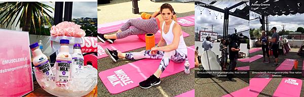.  24.05.2016 |  Ashley était à un cours de fitness privé lors du déjeuner organisé par 'Muscle Milk Smoothies' à LA.  C'est tout sourire que la belle a été vu à un cours de fitness privé avec son meilleur ami Joseph Chase. C'est dans une tenue très blanche et sportive qu'elle s'est présentée avec le sourire qui ne la quitte jamais. La belle a d'ailleurs posté une photo de l'événement sur son compte Instagram et puis le compte Insta 'Azione' a aussi posté une superbe photo où elle regarde l'objectif. Ashley a profité de l'occasion pour poster une vidéo sur Snapchat où l'on aperçoit Joseph Chase.    .
