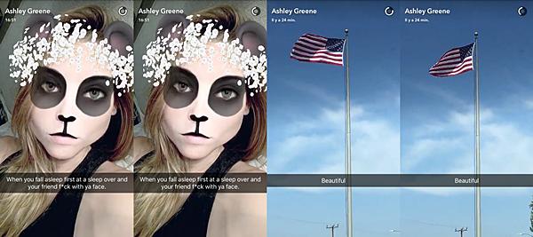 .  09.06.2016 |  Ashley partage avec nous deux petites vidéos de sa journée sur Snapchat ! Découvrez deux nouvelles vidéos partagés par Ashley sur Snapchat. la première est une vidéo où on la voit avec le filtre panda. La belle rend la situation plutôt drôle puisqu'elle décrit ce filtre comme le moment où on s'endort en premier dans une soirée pyjama et qu'on écrit sur notre visage ! Elle n'a pas tord en même temps XD Sur la seconde vidéo, on voit le drapeau américain sous un magnifique ciel bleu. C'est qu'il y a des chanceux qui profitent du soleil !    .