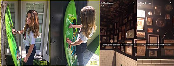 .  24 & 25.06.2016 |  Ashley pour Just Jared et au Café New Deal à Los Angeles ! Ashley a posé pour Just Jared en signant son Teen Choice Awards vendu aux enchères. Toujours tout sourire, on peut voir que la belle porte une jolie tenue assez simple. Dans l'après-midi du 24, la belle et ses amies se sont réunies au café New Deal à Los Angeles, en Californie. Elle a posté une vidéo nous présentant les lieux sur son Snapchat. Le lendemain, Brock Kelly a posté une photo sur son compte Instagram de lorsqu'ils étaient au café. On peut y apercevoir miss Greene toute mignonne ! On dirait qu'elle porte le même haut que sur les photos Just Jared, vous ne trouvez pas ? Découvrez également une nouvelle photo du Snapchat provenant du compte de Ryan Rottman le même jour. De plus, la belle a posté une toute nouvelle photo datant du 23 à son événement public pour les enfants. Et enfin, une nouvelle photo d'elle datant du 20 est apparu :)   .