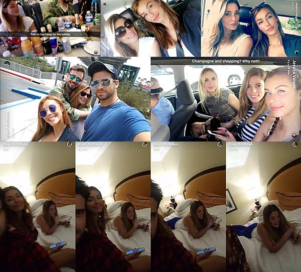.  03.07.2016 |  Ashley est partie à San Diego en vacances avec Paul et ses amies pour le jour de l'indépendance ! En cette veille du jour de l'indépendance en Amérique, Ashley et ses amies sont partis en train puis en voiture à San Diego afin de célébrer ce fameux jour. C'est donc par ses amies Ryan Rottman et Jessica Vargas sur leurs Snapchat qu'on a pu avoir des nouvelles de la belle ! Sur une première photo, on voit la belle et son chéri dans le train avec beaucoup de boissons soit dit en passant. Ensuite, nous avons deux photos de Jessica et Ashley dans la voiture et une photo des deux couples. Sur cette photo, Ashley et Paul sont vraiment très mignons. Leur complicité fait plaisir à voir ! Enfin, découvrez une dernière photo de la belle en route pour aller faire du shopping avec du champagne apparemment. Dans la soirée, aux alentours de minuit (heure américaine), Ryan Rottman a posté une vidéo où on voit miss Greene sur le lit de leur chambre d'hôtel sûrement (à moins qu'ils aient loués une maison pour quelques jours) ! Dommage qu'on ait pas plus de photos des tenues de la belle, on dirait bien qu'elle a changé de tenue trois fois dans la journée XD   .