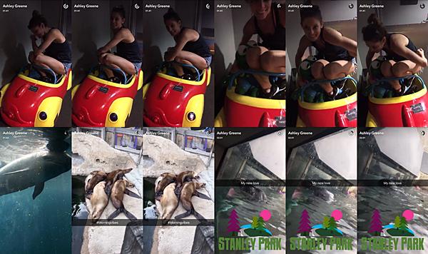 .  18.07.2016 |  Ashley au parc Stanley avec des amies à Vancouver ! Miss Greene est actuellement à Vancouver pour le tournage de la saison 4 Rogue et profite de ses journées de libre pour visiter quelques endroits. Elle s'est donc rendue au parc Stanley et est passée faire une petit coucou aux animaux ! Vous pouvez donc retrouver une première photo posté par la belle sur son compte Instagram où elle fait une nouvelle fois la promotion des t-shirts 'Liquid Diet' en vente sur representcom/ashley et une seconde photo d'elle et un petit animal qui lui fait un petit bisou sur la main au travers de la vitre. Découvrez par la suite pleins de captures d'écran d'une vidéo posté par son amie Rhiannon Rae sur Instagram, on y  voit Ashley en premier et second plan notamment ! L'aurez-vous trouvée sur toutes les photos ? :D Enfin, je vous laisse découvrir les captures d'écran de trois vidéos et une photo postées par la belle sur son compte Instagram. La belle était juste morte de rire dans sa petite voiture pour enfant ! Encore une fois, elle nous montre à quel point son enfance n'est pas si loin malgré les trente ans qui approchent à grand pas ! :P   .