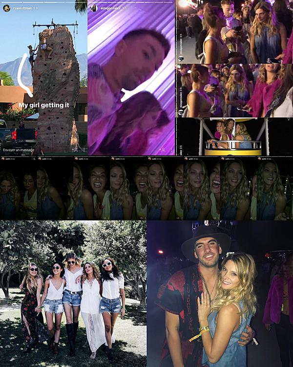 .  15.04.2017 |  Ashley au Festival de Musique Coachella à Palm Springs avec ses amies ! Comme je vous le disais dans le précédent article, les amies ont du loués une villa ensemble afin de passer le weekend ensemble. C'est donc avec grand plaisir que pour la seconde journée du festival, nous avons beaucoup de nouvelles notamment grâce à ses amies. Cara la première a posté deux photos de la belle de bon matin, dont une avec Paul. Ensuite, Olivia nous a posté une vidéo d'elle et Ashley se préparant à partir à un événement durant lequel, en compagnie de Joseph, la belle a fait un tour en voiture avec Harrison Sweeney. Plus tard, elle s'est rendue à un événement Victoria's Secret. Dans la journée, elle a pu faire de l'escalade avec Jessica et ensuite, tous les amies se sont rendus à un concert sur place. Nous pouvons y découvrir que Rhiannon et Eiza Gonzalez les ont rejoints sur place. En dernier lieu, voyez deux photos personnels postés par la miss sur son compte Instagram :D   .