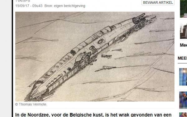 Epave U-B II de la ww1  retrouvé aujourd'hui a Ostende