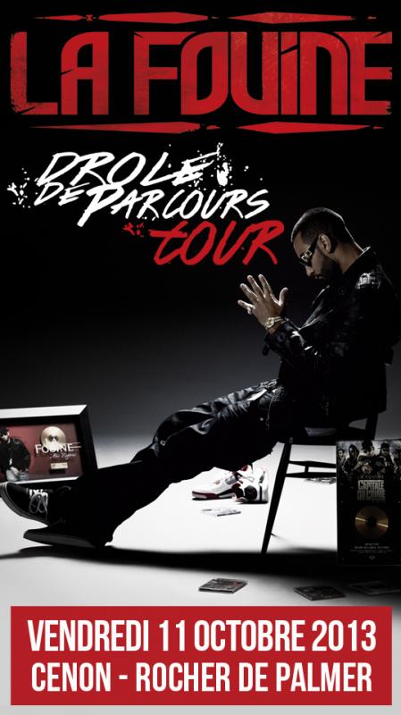 """La Fouine en concert le 11 octobre au """"Rocher de palmer"""" à Cénon (Bordeaux)"""