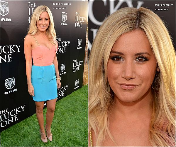 """16/04/2012▬ Ashley était à la première de """"The Lucky One """" à Los Angeles. Que dites vous de sa tenue ?"""