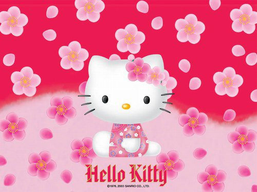 hello kitty entoure de coeure