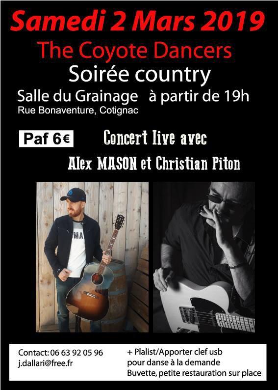 On vous attend a notre soirée country le 2 Mars prochain a 19 H