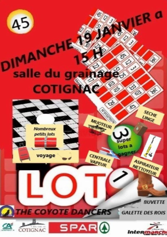 THE COYOTE DANCERS ORGANISE NOTRE LOTO ANNUEL