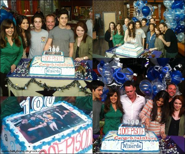 10.02.11 ~ Selena et le reste du cast des Sorciers de Waverly Place ont célébrés le 100éme épisode de la série.