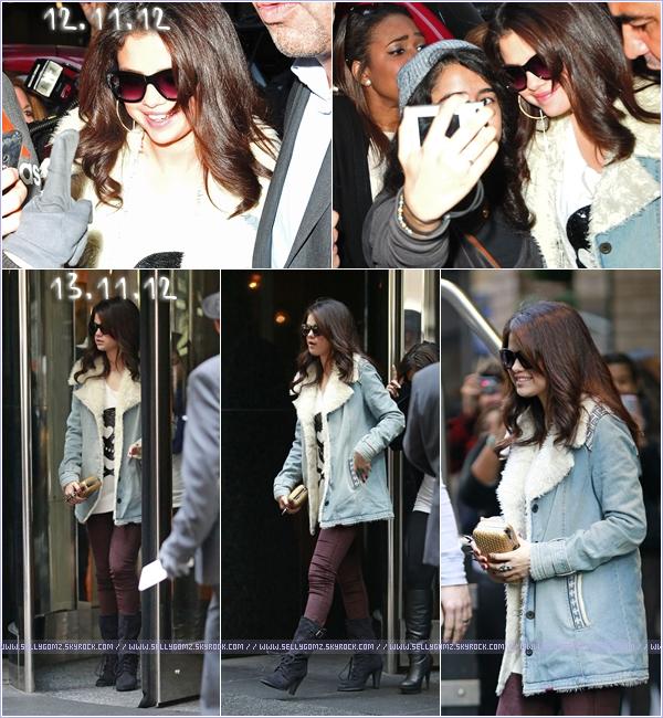 12 & 13.11.12 ~ Selena quittant son hôtel lundi et mardi à New York dans la même tenue.