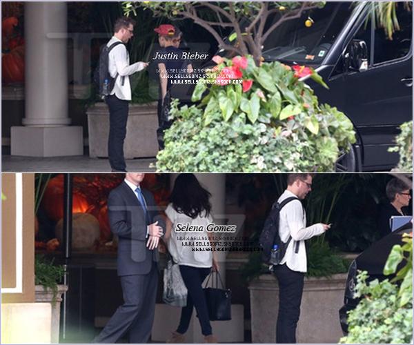 """15.11.12 ~ Selena se dirigeant dans un hôtel de Beverly Hills afin d'y rejoindre Justin Bieber. Le soir ils sont allés à """"Laugh Factory""""."""