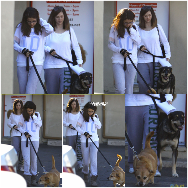 24.11.12 ~ Selena et sa maman Mandy allant chez le vétérinaire avec 2 de leurs chiens à Los Angeles.