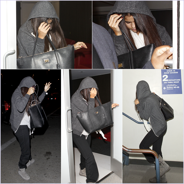 25.11.12 ~ Selena arrivant à l'aéroport LAX pour prendre un vol direction New-York.