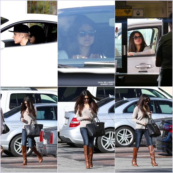03.12.12 ~ Selena  a été aperçue en voiture en compagnie de Justin puis plus tard quittant un studio.