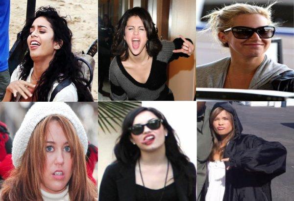Quand les actrices made in disney font leurs plus belles grimaces au paparazzi.Quelle grimace préfère tu ? Perso j'aime bien celle de vanessa & miley ! (: