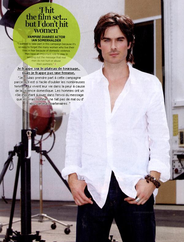 """. Scan : Ian dans le magazine Cosmopolitan pour le mois de Septembre 2011, où il fait part de la campagne """"Real Man"""", contre la violence faite aux femmes. ."""