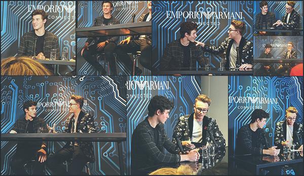 . 11/11/17 - Shawn Mendes à été présent lors de l'évenement d'Armani, «#EAConnected» dans la ville de Londres.   Je trouve notre Shawn M. vraiment beau lors de cet event! Sa tenue donne des 2015 vibes! Il a donné une interview en compagnie de Roman K., un Top! .