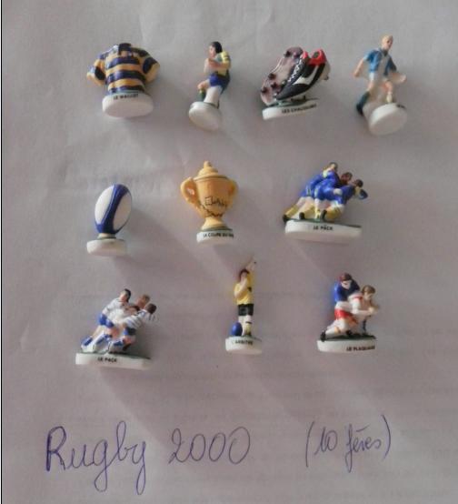 Série de 10 féves rugby 2000  . et série contes de e notre enfance casino .................féves pour échange .............