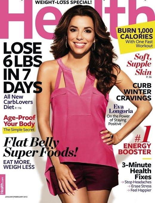 Eva Longoria fait la couverture du magazine Health pour le mois de Janvier/Février 2012