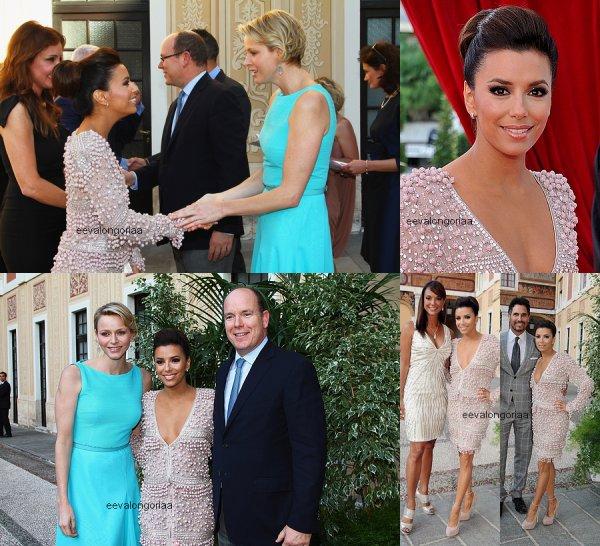 13 juin 2012... Monté Carlo, Monaco Eva arrive au Palais Princier pour un cocktail.