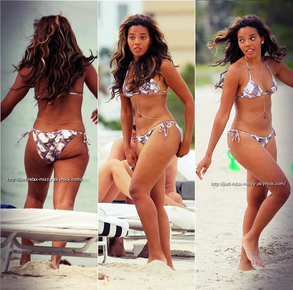 Angela en bikini sur une plage de Miami