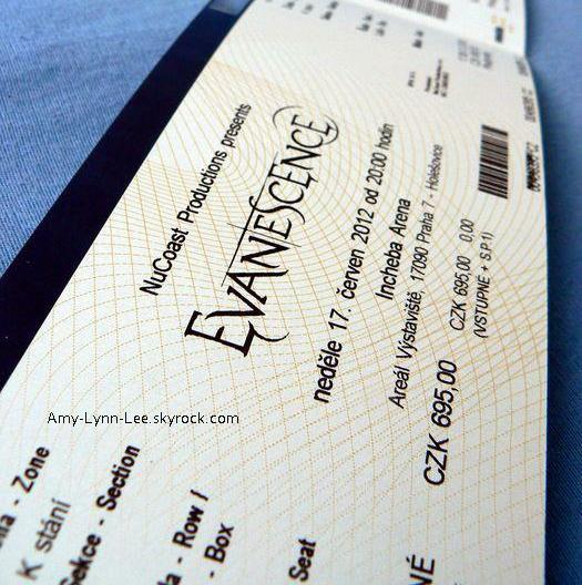 . Billet d'entrée pour le concert d'Evanescence à Prague. - 17.06.2012.   .