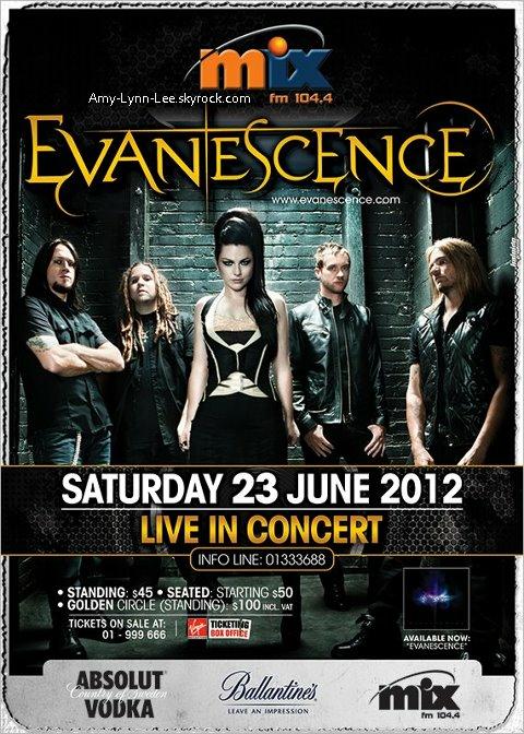 """. Ce soir, (23 Juin) Evanescence est au Liban ! A Beyrouth !  Le concert est organisé par """"Mix FM Lebanon"""", Une radio libanaise ayant pour cible les 16-25 ans..    ."""