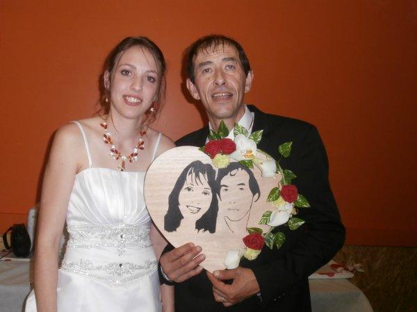 """Portrait fait pour de jeune mariés, avec la participation de """"Sarah LMA"""" sa page facebook, pour les fleurs."""