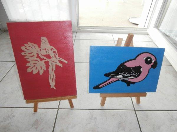 2 cadres d'oiseaux fais pour l'expo