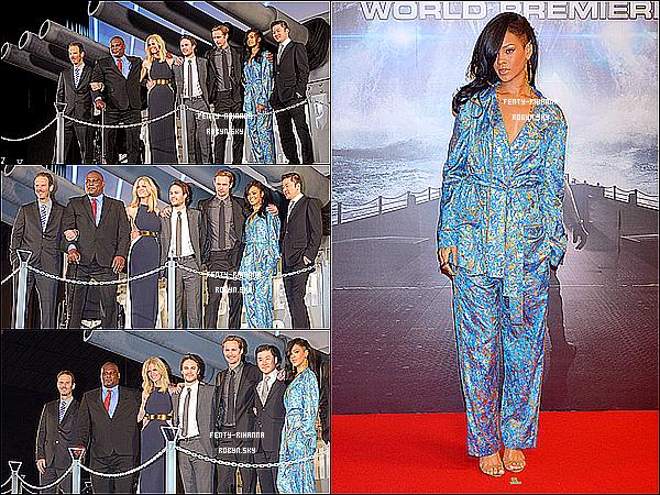 .  2 Avril  : Rihanna, aperçu a la première de « Battleship » à Tokyo.  Un énorme TOP pour moi. Votre avis ? .