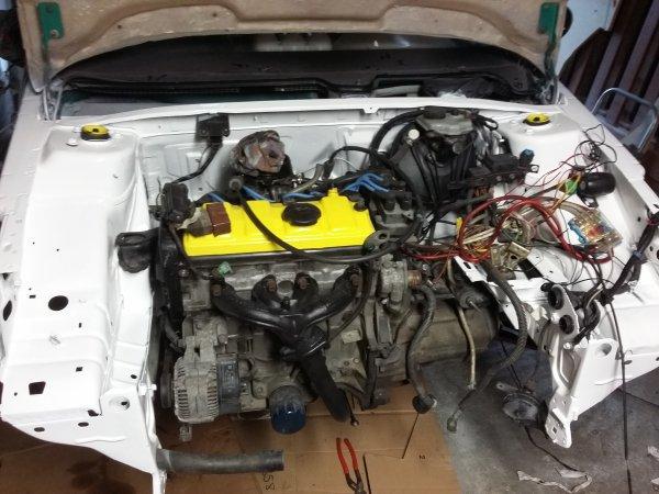 Mise en apprêt traverse, remontage moteur/boite