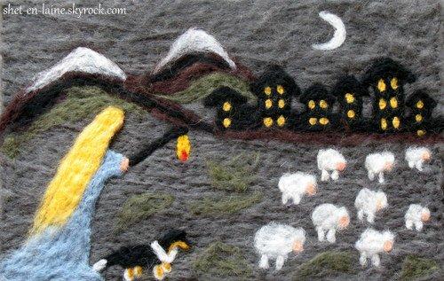 Le berger de Shetland et le travail au troupeau