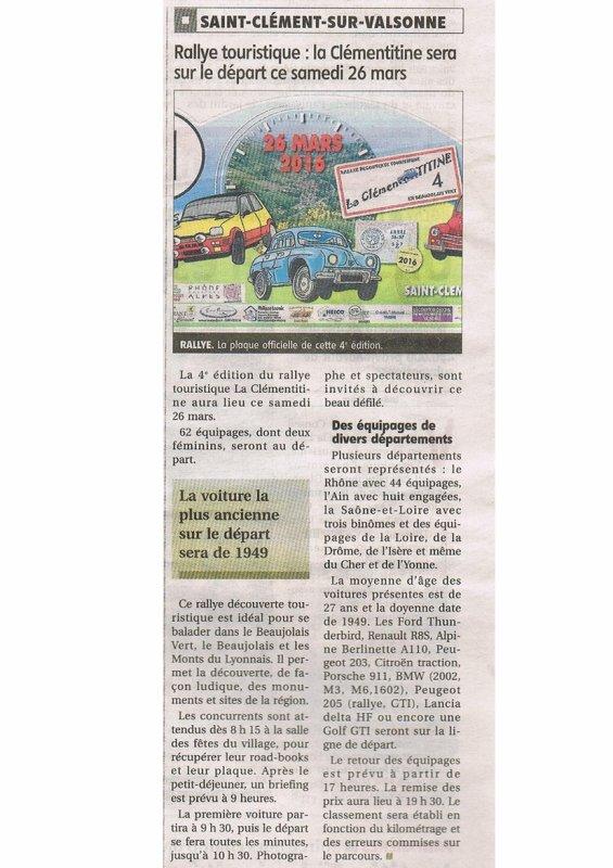 Clémentitine 4 (2016): article dans le pays roannais du 23 03 2016.....merci emma^^