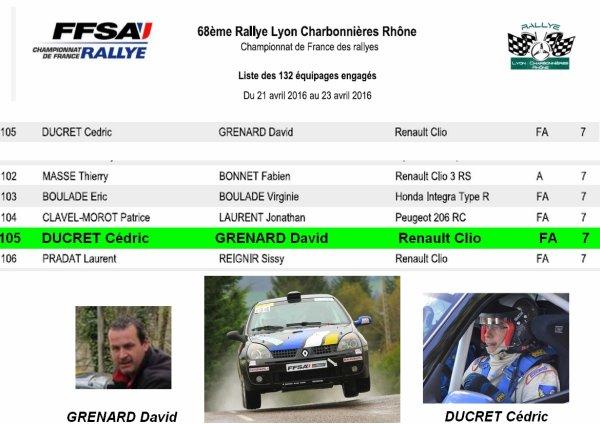 """Rallye """"charbo 2016"""": Numéro 105 sur les portieres !!!!!!!!!!!!!!!"""