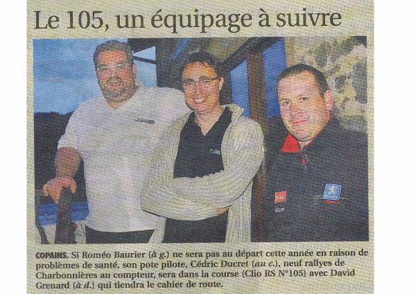 "Rallye ""charbo 2016"": article pays roannais du 21 avril.......merci cedric^^"
