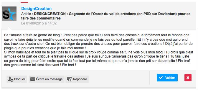 DESIGNCREATION : Gagnante de l'Oscar du vol de créations (en PSD sur Deviantart) pour se faire des commentaires