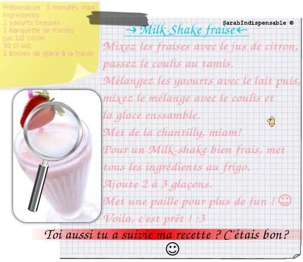 Mlk-shake Fraise.