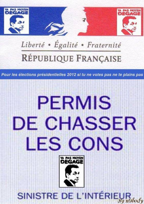 PERMIS DE CHASSER LES CONS
