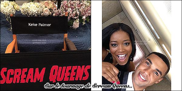 .  22/03/2015 - Keke Palmer à été aperçue sur le set de «Scream Queens » -Nouvelle-Orléans. La série est centré sur un campus universitaire qui a été frappé par une série de meurtres et qui se retrouve donc dans une maison de sororité, avis ?! .