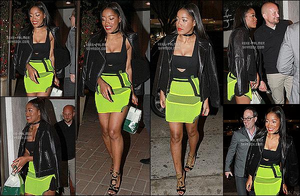 .  09/04/2015 - Keke à été photographiée allant dîner au restaurant « Madeo » à Beverly Hills. Keke était sublime sur le candid, je suis complètement fan de sa tenue je lui accorde un énorme top elle portait des Zanotis j'adore elles gère putain ! .