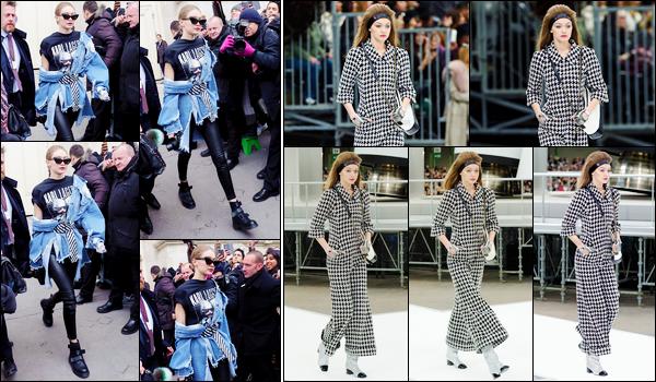 - 07/03/17 -Jelena Hadid a été photographiée alors qu'elle quittait le défilé de la marque « Chanel », Paris. A l'occasion de la Fashion Week, Gigi a défilé pour cette célèbre marque de luxe. La tenue lors du défilé est un flop, la classique est top ! -