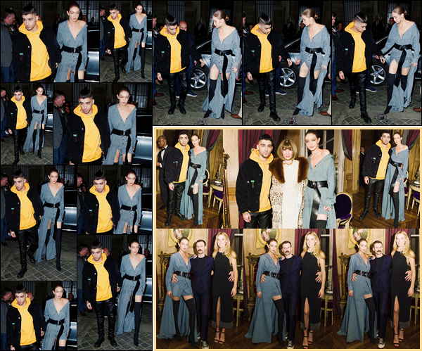 """- 03/03/17 -Gigi Hadid a été vue alors qu'elle sortait de son hôtel en compagnie de son """"petit ami"""", Zayn M. C'est alors pour se rendre à la soirée « Vogue Cocktail Party » que nous retrouvons Gigi et Zayn ! J'accorde un bon flop pour sa tenue ! -"""